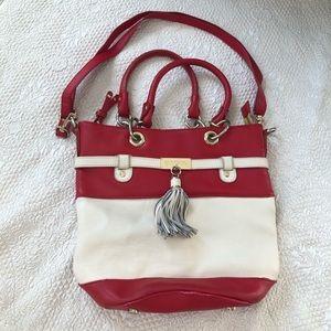 Spartina 449 White & Red Leather Handbag Purse
